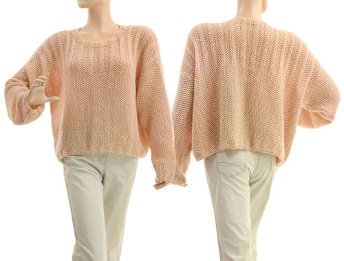 Hand knitted sweater Nora, merino alpaca in nude S-L