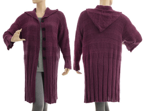 Hooded sweater coat hand knitted, merino alpaca in purple L-XL