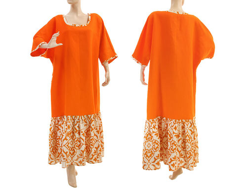 Maxi boho plus size ruffled linen dress in orange L-XXL
