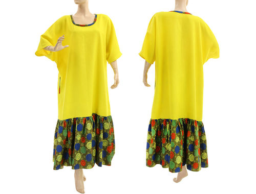 Maxi boho plus size ruffled linen dress in yellow L-XL