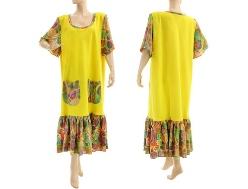Linen boho A-line dress with ruffle in yellow L-XL